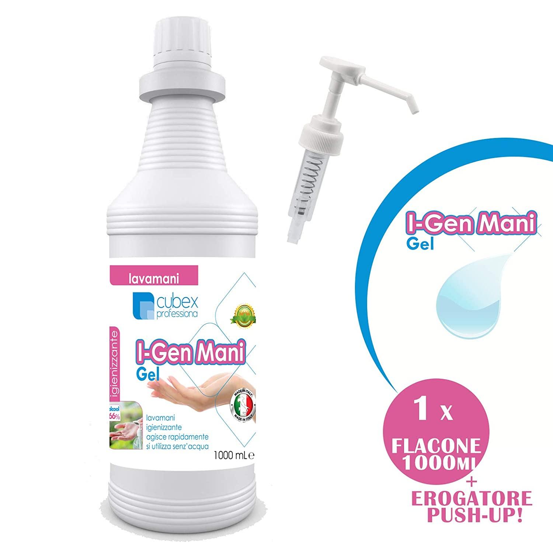 CUBEX PROFESSIONAL I-GEN MANI gel igienizzante mani 1000ml + EROGATORE PUSH-UP