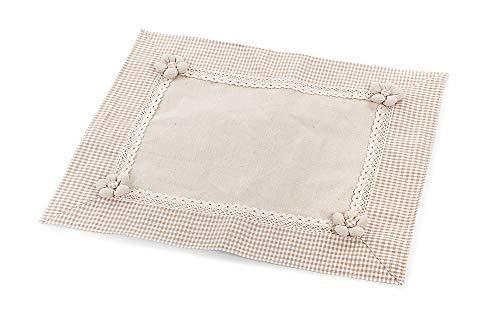 DISRAELI Coprifuochi in Tessuto Beige con Bordo a Quadretti 55x45 cm