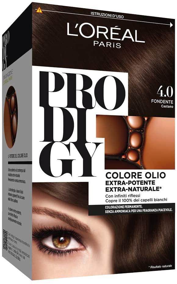 L'Oréal Paris Tinta Capelli Prodigy, Copertura Totale dei Capelli Bianchi, 4.0 Fondente Castano, Confezione da 1