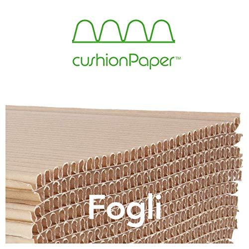cushionPaper Strong | spessore 15mm | Fogli di carta ondulata, riciclata e riciclabile per imballaggio, protezione e riempimento | Formato: 19x59cm | 80 fogli per scatola | Dim. Scatola 60x40x60cm