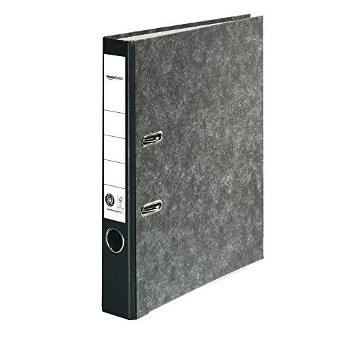 AmazonBasics - Registratore a leva con anelli D, copertina in carta effetto marmo, con certificazione FSC, A4, dorso da 50 mm, confezione da 25, nero