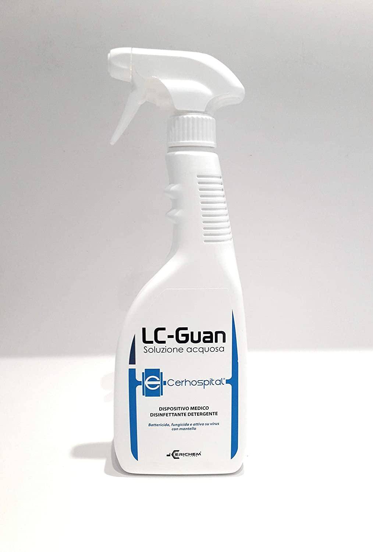 Disinfettante antisettico LC- Guan ml 750 detergente ospedaliero, ambienti, efficace virucida,Tubercolicida, Battericida, Micobattericida, Funghicida