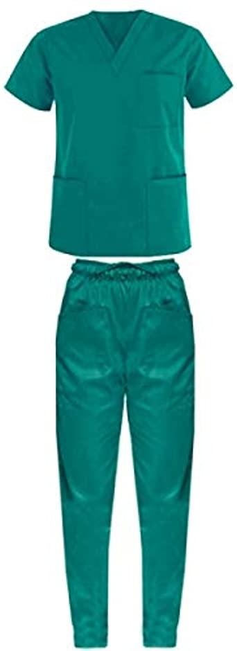 Ricamo Gratuito Divisa ospedaliera Sanitaria Uniforme Medica OSS Infermiere Completo Unisex Uomo/Donna Casacca + Pantalone Scollo AV Unisex Colori A Scelta