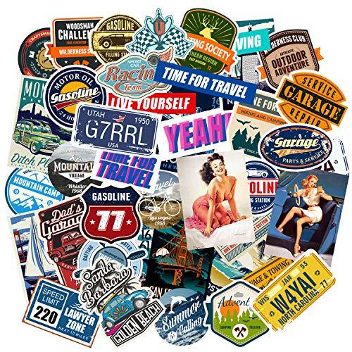 Chileeany 35 Pezzi - Adesivi Valigia, Retro Vintage Stickers per Valigia, Skateboard, Chitarra (World Tour)