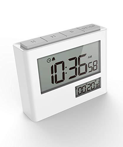 Timer Digitale con Orologio, Sveglia Digitale, Timer Elettronico, Timer e Orologio 2 in 1 con Conto alla Rovescia, Funzione di Allarme, Ampio Display per Cucina Lezione Studio Allenamento