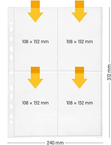 perfect line 100 buste trasparenti A4, buste portadocumenti chiare divise in 4 scomparti A6, foglio trasparente incolore con inserimento in alto