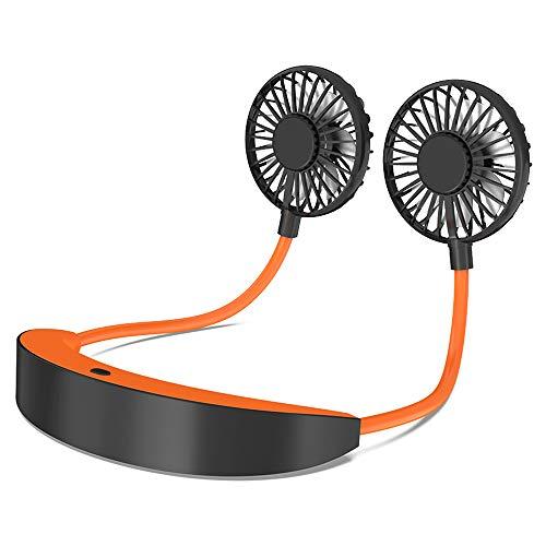 AISIR Mini Ventilatore Portatile USB, Ventilatore da Collo Indossabile, 5200mAh Ricaricabile Ventole Tavolo Silenzios con 360° Girevole 3 velocità 6-10 Orario Lavoro per Sport Viaggi Ufficio-Arancia