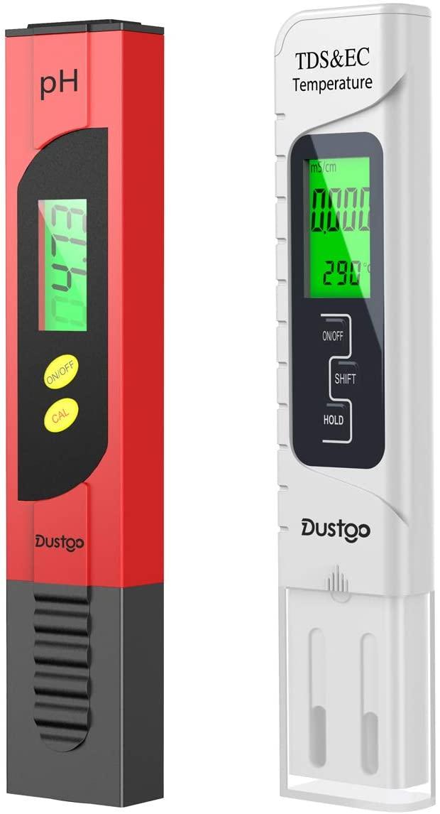Dustgo Tester PH/TDS&EC 4 in 1 Set Misuratore Digitale della qualità dell'Acqua Multi-Funzione Compensazione Automatica della Temperatura, Auto-Calibrazione, Retroilluminato Misuratore PH Acqua