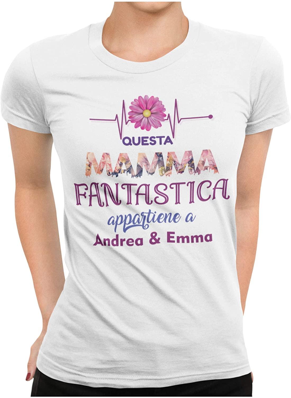 STAMPATEK Maglietta Mamma Personalizzata con Nome o Scritta Tshirt Festa della Mamma Maglia Idea Regalo Divertente T-Shirt Donna