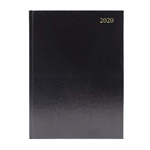Q Connect - Agenda da scrivania, formato A4, 2 giorni per pagina, 2020, colore: Nero
