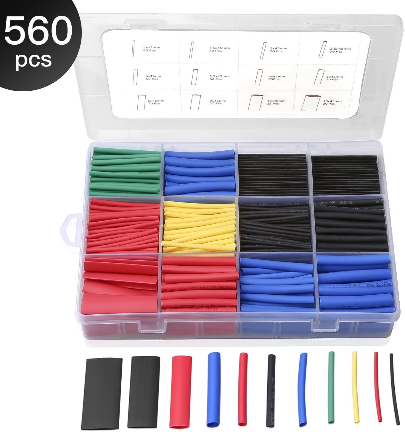 Eventronic 560 pezzi Guaina Termorestringente Tubi, Tubo Termorestringente per Cavi, Electrical Wire, Tubo Termoretraibile, Kit Tubo Termorestringente per Isolamento 5 Colori 12 Taglia