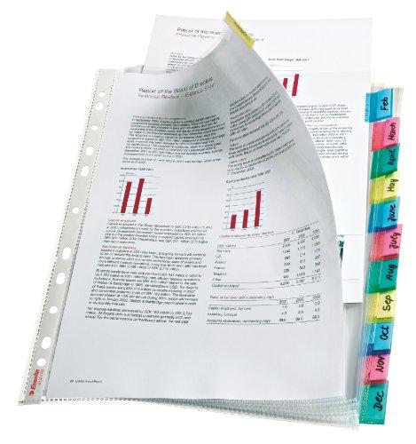 ESSELTE Busta Index a perforazione - 12 tasti - f.to A4 - PPL lucido - Multicolor - 414170