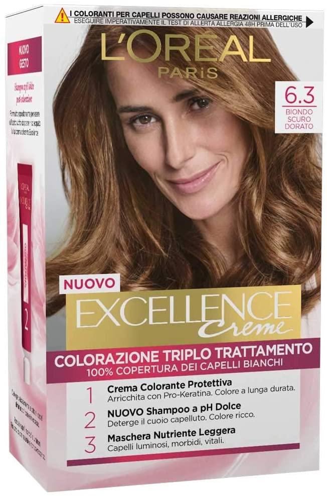 L'Oréal Paris Tinta Capelli Excellence, Copre i Capelli Bianchi, Colore Ricco, Luminoso e a Lunga Durata, 6.3 Biondo Scuro Dorato, Confezione da 1
