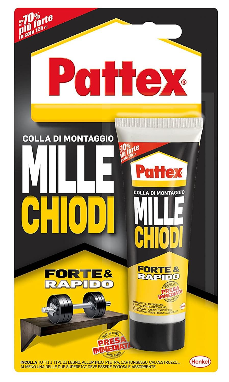 Pattex Millechiodi Forte & Rapido, adesivo di montaggio extra forte che sostituisce viti e fori al muro, adesivo bianco con effetto ventosa, 1x100g blister