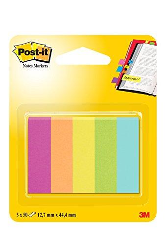 Post-it 63105 Segnapagina in Carta, 12.7 x 44 mm, 5 Colori Capetown, Fucsia/Arancio Neon/Giallo Oro/Verde Neon/Acquamarina, 250 Pezzi