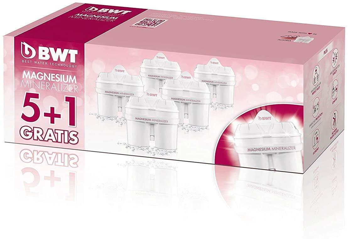 BWT Filtri per acqua con tecnologia brevettata al Magnesio Mg2+. Confezione da 5+1 filtri