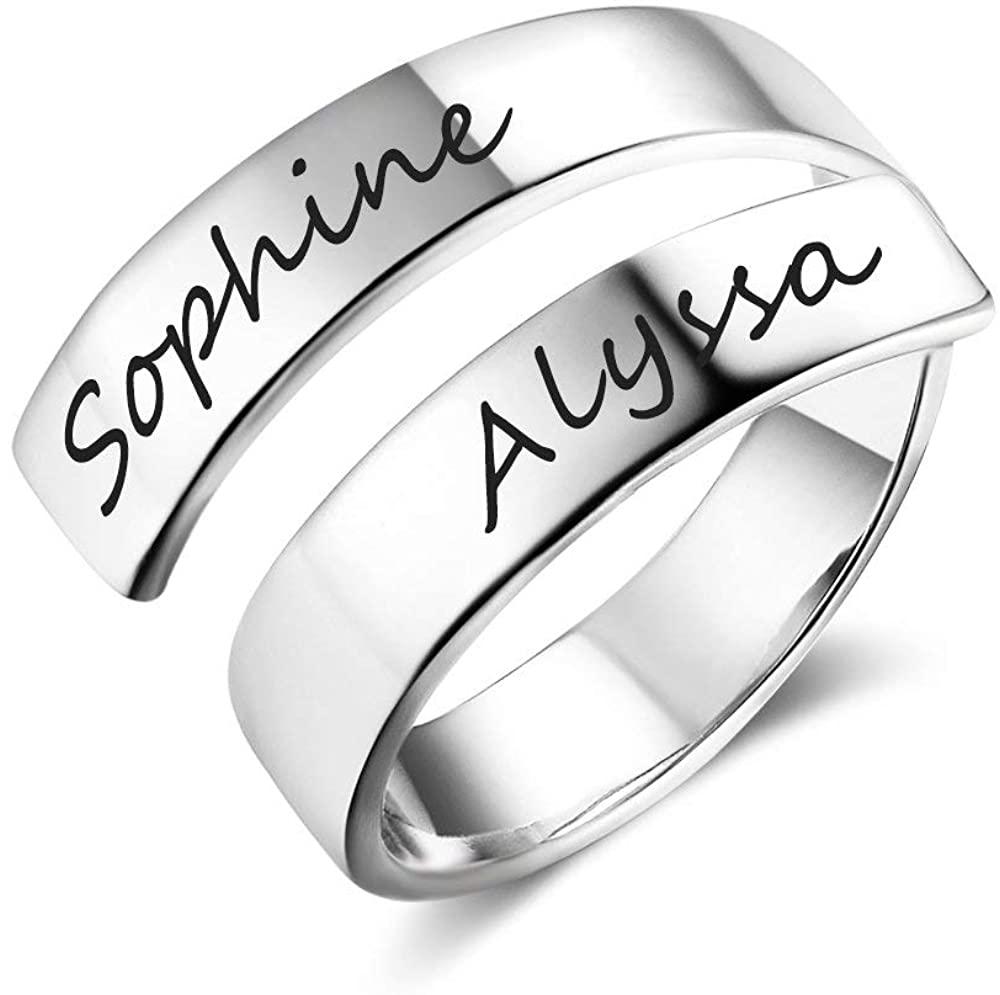 Grand Made Donna Personalizzato Twist Ring 2 Nome Open Regolabile Inciso Nome Regalo Mom Daughter Promise Anello Compleanno San Valentino Anniversario Donna Anello