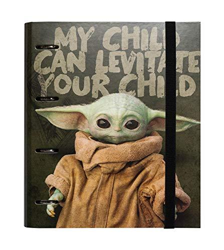 Erik® - Raccoglitore ad anelli A4 Star Wars Baby Yoda The Mandalorian con chiusura con fascia elastica per tenere al sicuro i tuoi appunti