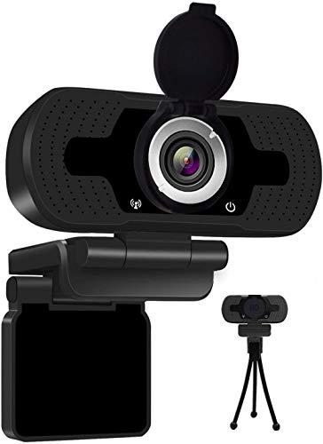 LiShiRong Webcam Full HD 1080P,USB Webcam con Microfono Stereo Telecamera Audio Stereo per Streaming Laptop e Desktop,Webcam PRO Stream con videochiamata Plug&Play Nero