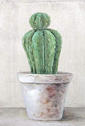 DISRAELI Quadro in Legno Cactus Stile Shabby Chic Vintage Arredamento 20x30x1.5cm