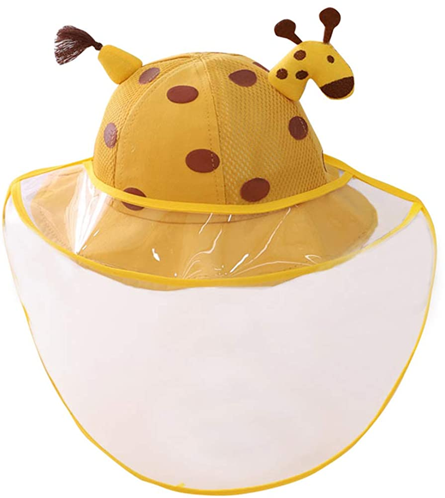 Happy Cherry - Cappello da Sole Protettivo Facciale Bambini Estivo Cappelli da Pescatore con Visiera Trasparente Bambino Berretto con Copertura Rimovibile per Anti-Saliva Anti-UV - 1-4 Anni
