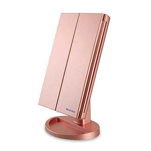 WEILY Specchio per Il Trucco con Luce 1x / 2X / 3X Trifold ingrandente con 36 LED Touch Screen Luci e Ricarica USB, Supporto Regolabile a 180 Gradi per Specchio cosmetico per Il Trucco - Oro Rosa