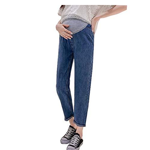 Pantaloni Premaman Prenatal, Premaman Jeans Donna, Pantaloni da Gravidanza, Maternity Jeans Elastico a Vita Alta Blu Scuro/M