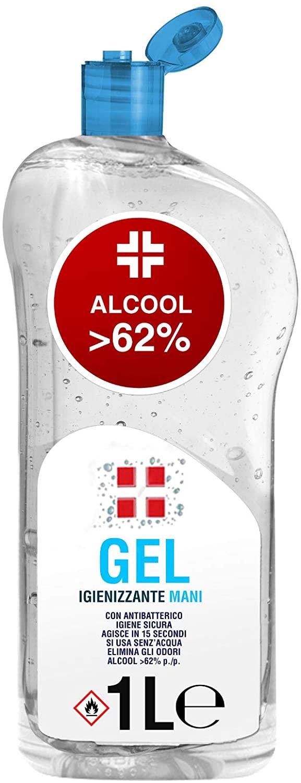 Eurocali 1 Litro Gel Igienizzante per Le Mani Alcool >62% Antibatterico 1000ml Agisce in 15 Secondi