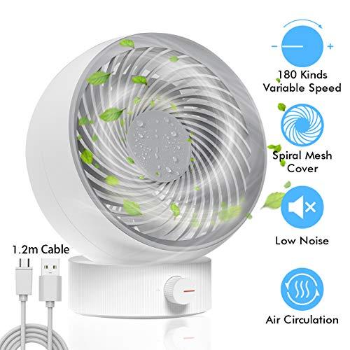 Ventilatore, TedGem Ventilatore USB Ventilatore da Tavolo Mini USB Ventilatore Silenzioso 180 Tipi di Velocità Del Vento, Del può Regolare su e Giù 20°, per Scrivania/Casa/Viaggiare(Bianco)