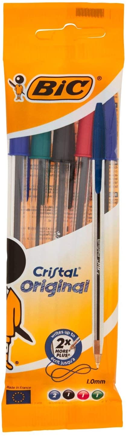 Bic Cristal Original Punta Media 1 mm Confezione 5 Penne Colori Assortiti
