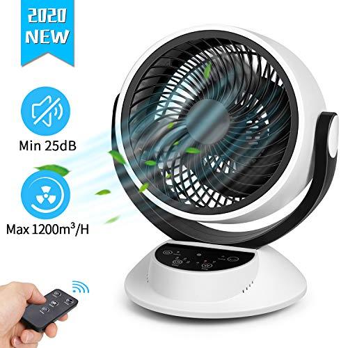 Ventilatore Silenzioso, Silenzioso 25dB, Ventilatore da Tavolo, Pannello Tattile LCD, 20m³/min, 3D Oscillazione 80°, con Telecomando, Timer di 7 Ore
