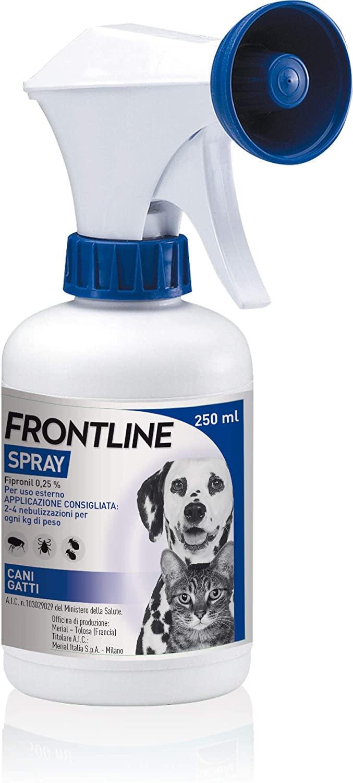 Frontline | Spray Cani e Gatti | Trattamento e prevenzione delle infestazioni da zecche, da pulci e da pidocchi | confezione da 250 ml