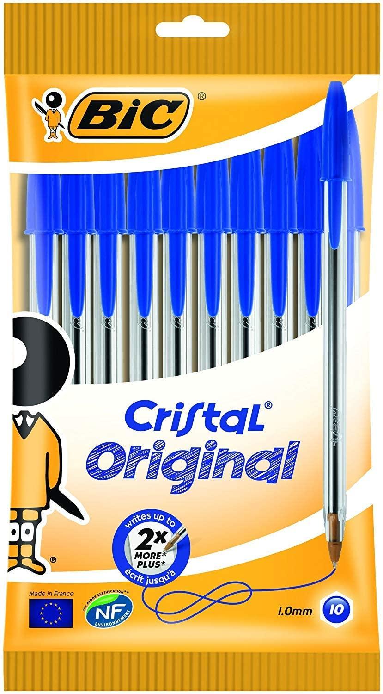 Bic Cristal Original Punta Media 1 mm Confezione 10 Penne Colore Blu