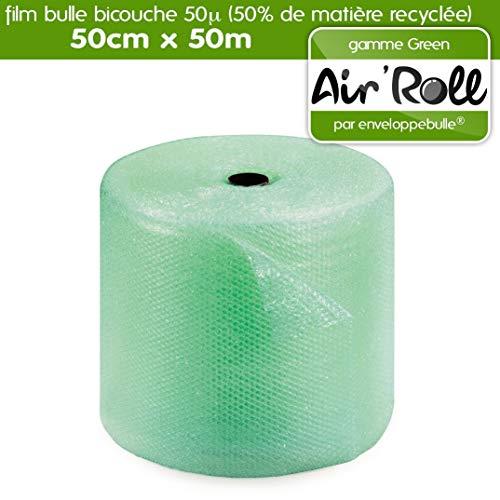 Rotolo di pellicola a bolle RECYCLE 50 cm x 50 metri con 50% di materiale riciclato tinto verde traslucido