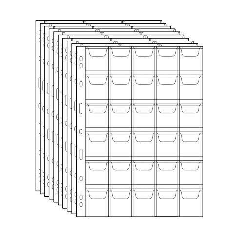 Porta Monete Portaoggetti Timbro Tasche Timbro in Plastica Protezione valuta Moneta Rifornimenti di raccolta monete 10 Fogli (30 Tasche)