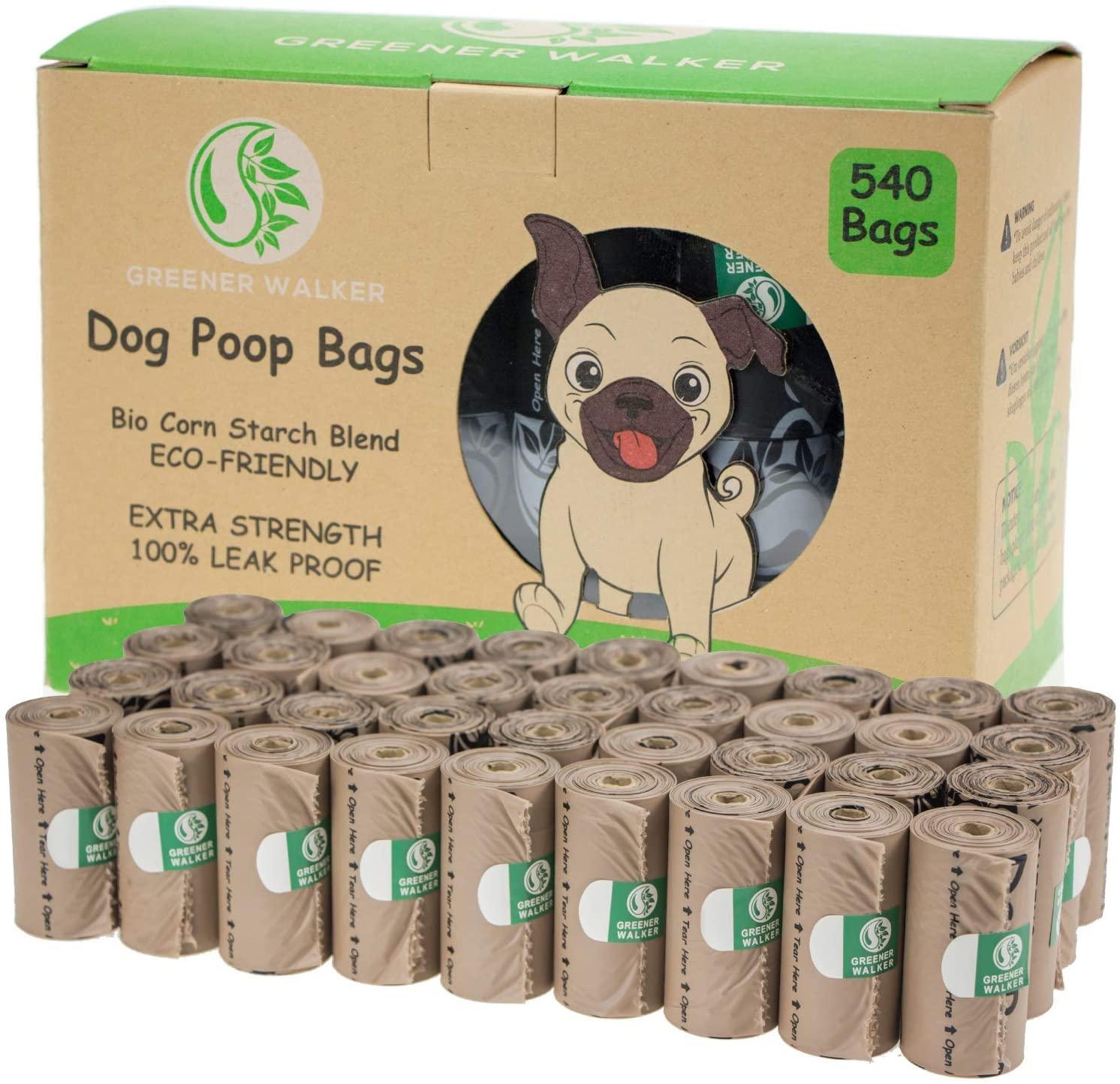 Greener Walker Cacca Sacchetti per bisogni dei Cani,540 unità,Extra Spessi,Forti e 100% Prova di perdite,biodegradabili étanches Sacchetti per Cani(Marrone)