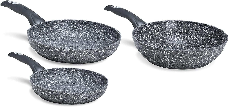 Aeternum Madame Petravera Plus Tris di Padelle e Wok Saltapasta, Alluminio, Pietra, 24.28 cm