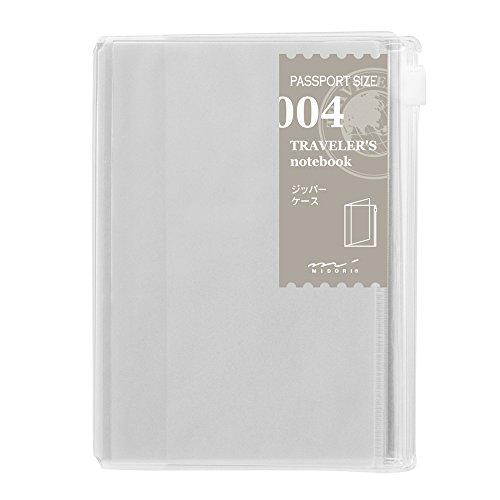 Midori, Traveler's Notebook (004), ricaricabile, kit con chiusura a zip, con tasca per passaporto