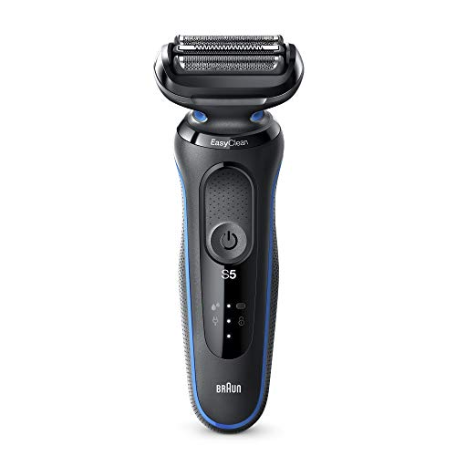 Braun Series 5 50-B1000s Rasoio Elettrico Uomo, Wet & Dry, Ricaricabile, Lamina Senza Fili, Blu