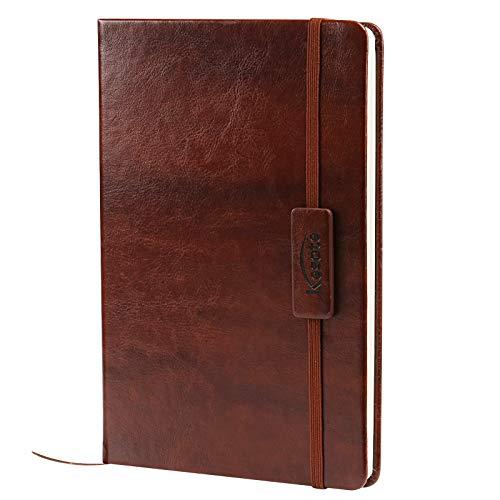 Kesote A5 Classico Taccuino con Copertina in Pelle Rigida Diario Ufficiale con Cchiusura Elastica e Espandibile Tasca di Carta Quaderno a Righe (200 pagine)