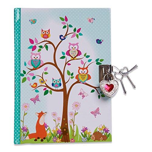 Lucy Locket Diario animali del bosco (set scrittura, carta per lettere, diario segreto con lucchetto e chiavi) Diario per bambini con gufo e volpe