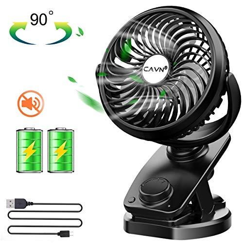 CAVN 5000mAh Ventilatore USB, Mini Clip Ventola da tavolo, [360° Rotazione] [Oscillazione Automatica] Ventola ricaricabile Personale, Ventilatore con velocità continua per l'ufficio campeggio