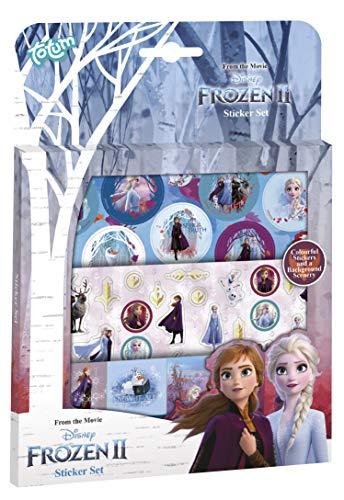 Set di adesivi Disney Frozen II: 3 fogli di adesivi con motivi incantevoli di Anna & Elsa, Olaf e un motivo paesaggio.