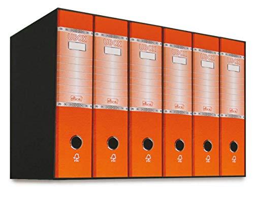 Elica UBOX - Kit 6 Raccoglitori ad anelli a4 dorso 8 con Meccanismo a Leva, Raccoglitore Cartonato, Formato Commerciale , Registratore, Faldone Porta Documenti Favorit (Arancione)