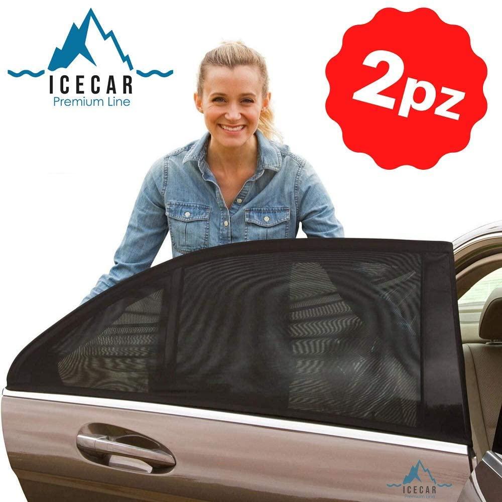 ICECAR Tendine Parasole Auto Bambini Originali - Nuovo Tessuto 130g/m² Premium Royal Stretch 2020 - Protezione Raggi solari UV, Insetti, Privacy - Misura Universale - 2 Pezzi
