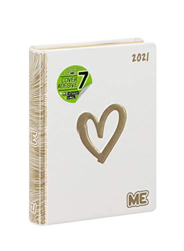 My Evolution - Diario 2020/2021 16 Mesi - Finitura Luxury - Me colore Bianco con cuore oro - Medium