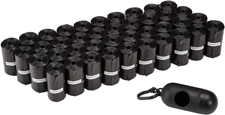 AmazonBasics - Sacchetti per bisogni dei cani, con dispenser e clip per guinzaglio, confezione da 600