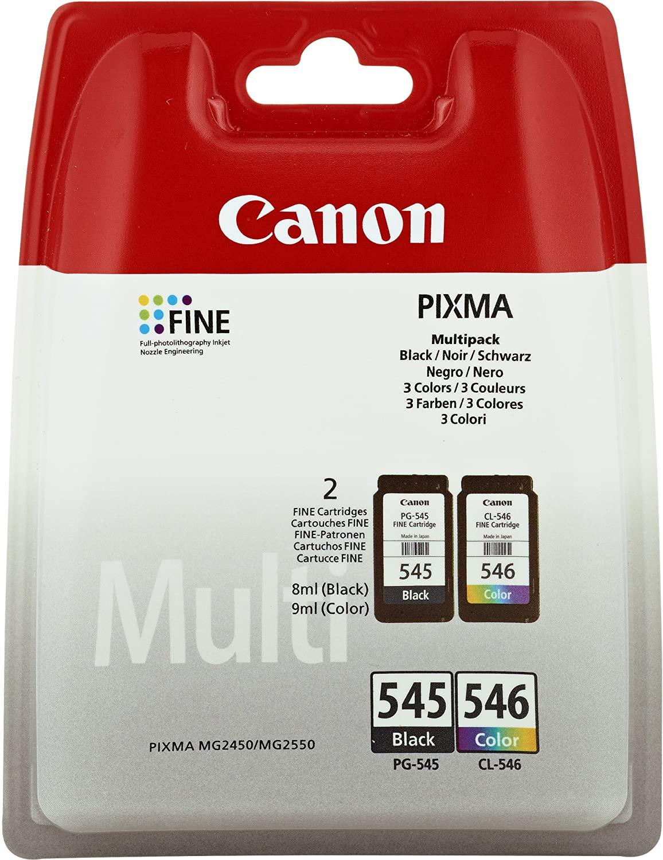 Canon PG-545/CL-546 Cartuccia originale inchiostro nero e multicolore per stampante a getto d'inchiostro Pixma TS3150-TS3151-MG2450-MG2550-MG2550S-MG2555S-MG2950-MG3050-MG3051-MG3052-MG3053-IP2850