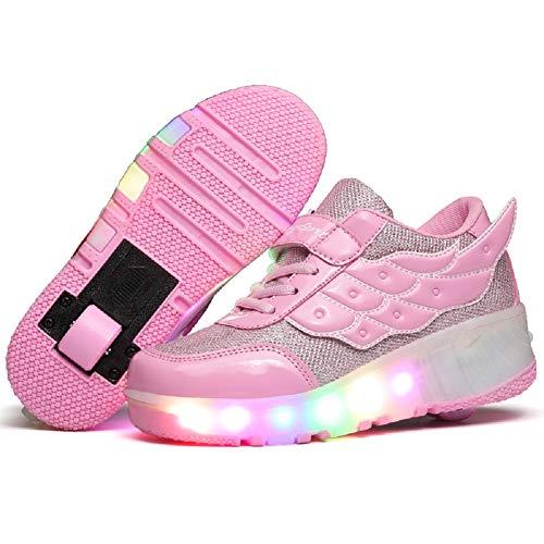 Unisex Scarpe da LED Luce Singolo Doppia Ruota Skateboard Sportive con Rotelle Automatiche Ruota Outdoor Multisport Ginnastica Running Sneaker USB Ricaricabile