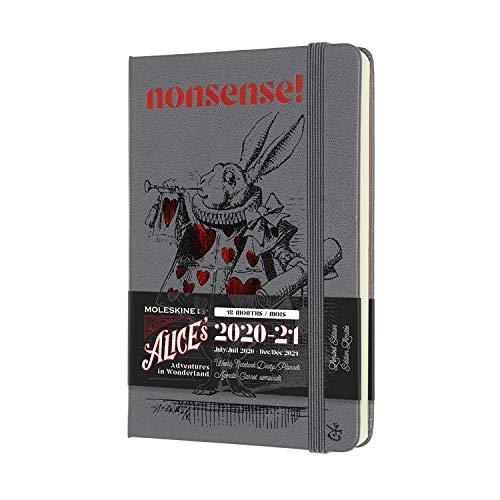 Moleskine - Agenda Settimanale 18 Mesi 2020/2021, Planner in Edizione Limitata Alice nel Paese delle Meraviglie, Tema Bianconiglio, Formato Pocket 9 x 14 cm, 208 Pagine